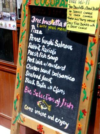 CocoPazzo Restaurant: Specials Board found outside on South St