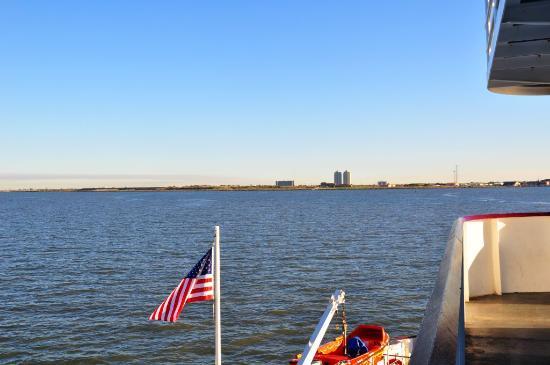 Galveston - Port Bolivar Ferry: erster Blick auf Galveston