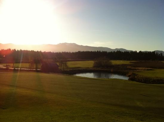 The evening view from the deck at the Pheasant's Nest Restaurant at Pheasant Glen Golf Course Qu