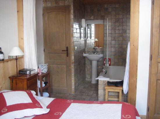 Hotel Bellier : Bathroom view - you can close curtain but we loved the open plan (toilet is seperate with door)