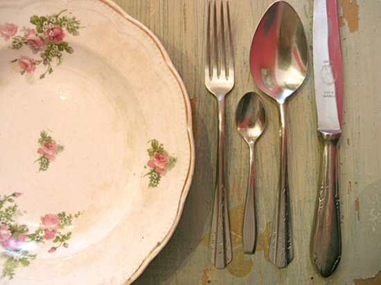 Adentro Dinner Club: Antique plates and silverware