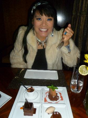 """The Blvd : chocolate experience 19 for two cocoa nib ice cream, sacher torte, warm fondant, """"after eight"""" s"""