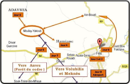 Moulay Yacoub, Marrocos: carte circuit