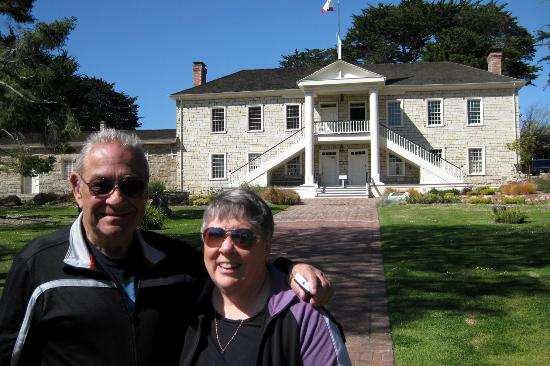 The Original Monterey Walking Tours: Dan and Carolyn from Minden NV in front of the California Constitution-signing building.
