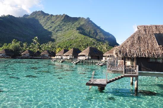 Hilton Moorea Lagoon Resort & Spa: Vista de los bungalow overwater