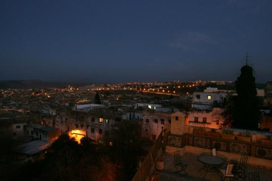 Ryad Alya: Fes at dusk from the rooftop terrace.