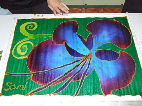 Melaka Batik House: The finished canvas prior to de-waxing