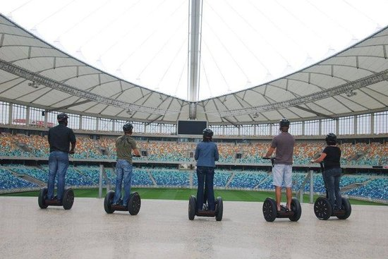 Segway Gliding Tours Moses Mabhida: At the viewing window in the stadium