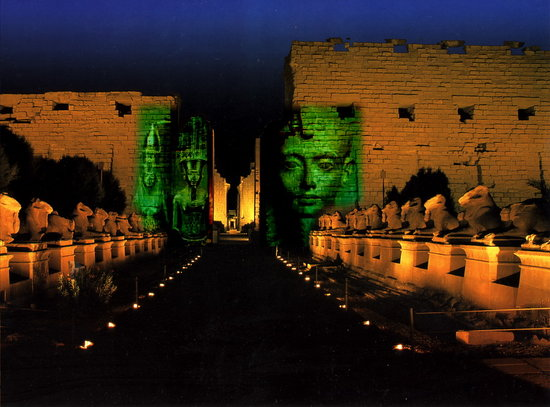 Luxor, Egypt: TheKkarnak temple in night