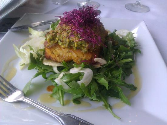 Frankie & Johnny's: Pistachio Cruster Grouper over Greens