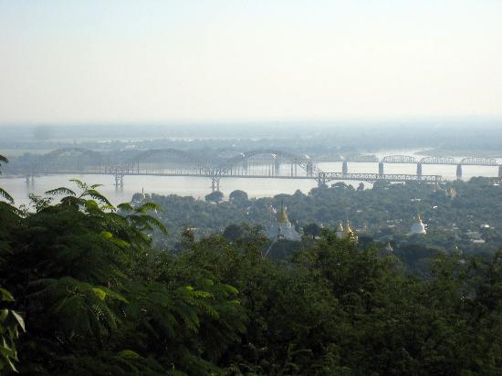 Inwa Bridge as seen with a zoom lens, from Sagaing Hill