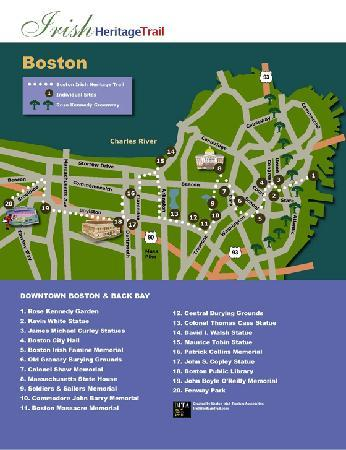 Map of Boston Irish Heritage Trail