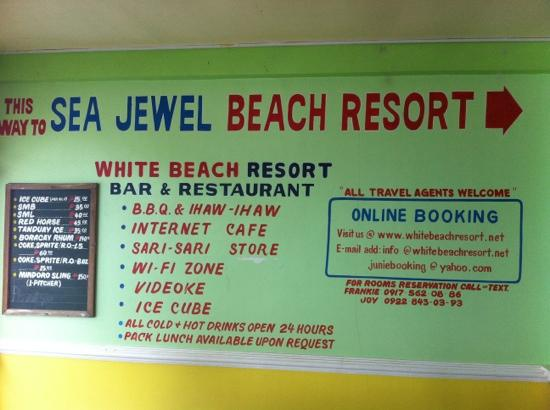 White Beach Resort: booking info 2012 03