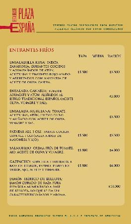 Restaurante Plaza Espana: Menu Entrantes Frios