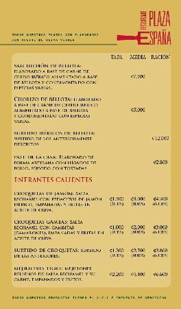 Restaurante Plaza Espana: Menu Entrantes Frios y Calientes