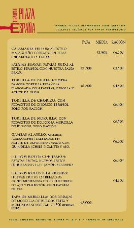 Restaurante Plaza Espana: Menu Raciones y Platos