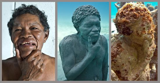 """Musa Museo Subacuatico de Arte: The """"Silent Evolution"""" sculptures are all based on real individuals from the Yucatan area."""