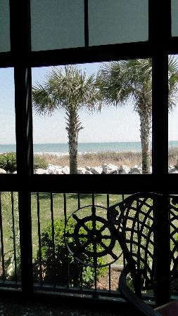 View of the beach from the Veranda seating