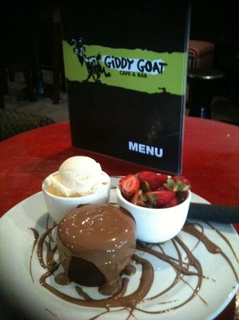 Giddy Goats Chocolate Cake covered with Belgian Chocolate.
