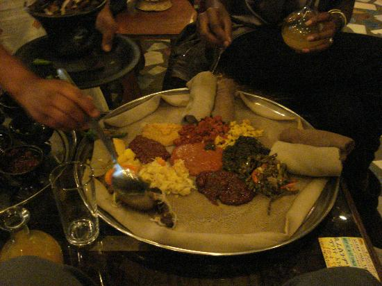 2000 Habesha Cultural Restaurant: Injera (lamb tips, shiro, etc)