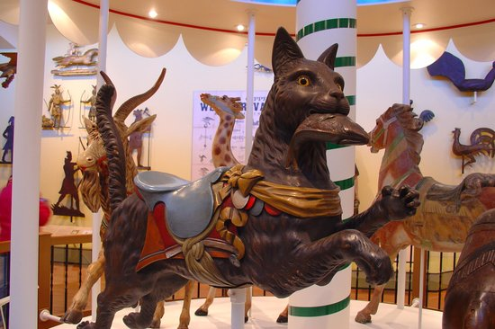 Jumping Dentzel carousel cat with fish in its mouth. Abby Aldrich Rockefeller Folk Art Museum.