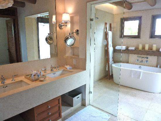 The St. Regis Punta Mita Resort: Bathroom, with two sink basins, indoor and outdoor showers, and free-standing bathtub.  Nice.