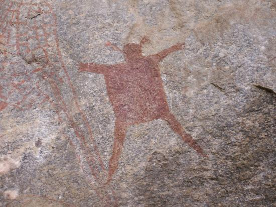 Kondoa Rock-Art Sites: Animal skin, photo shows part of drawing of a giraffe