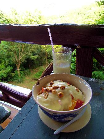 Seaview Bungalows Thansadet: Musli with yoghurt and shake, the best!