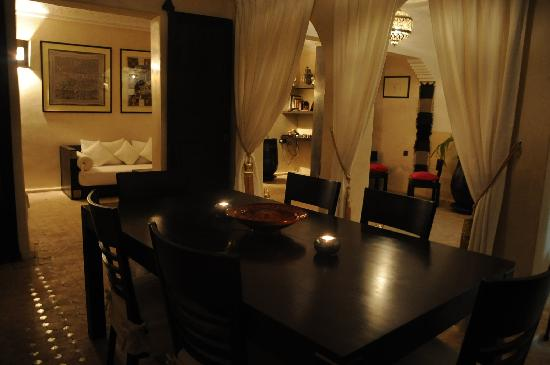 Riad Atman : The Dining area at night