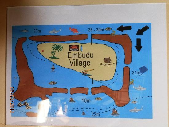 Embudu Village: Plan de l'île avec passes