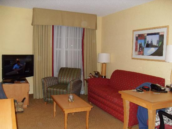 Residence Inn Mt. Laurel at Bishop's Gate: living room space with pull out couch