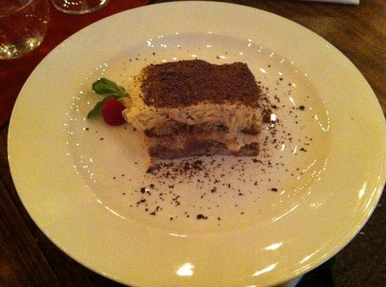 Boccaccia : Tiramisu with chocolate shavings (not cocoa powder).  YUM!