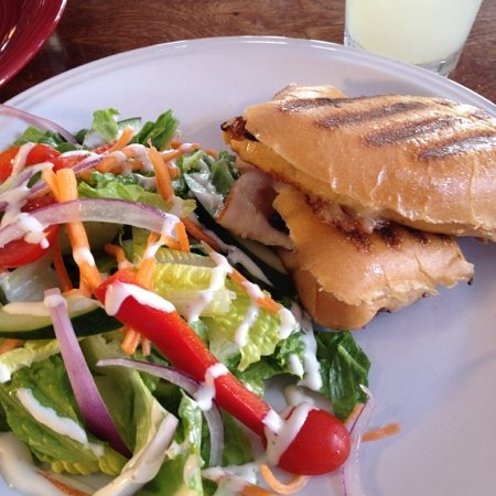 United Cafe Bar and Bistro: turkey panini with side salad