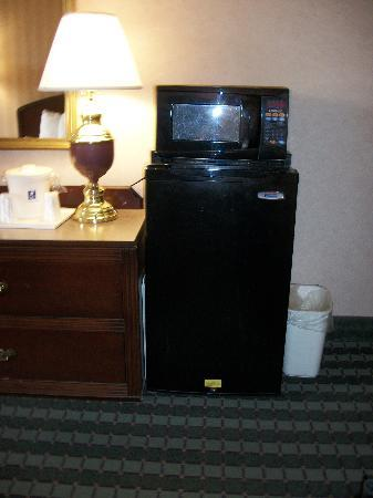Comfort Inn Roanoke Airport: microwave and refrigerator with small freezer