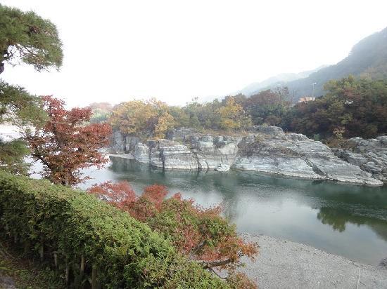 Nagatro Choseikan Ryokan: 庭から見た、荒川