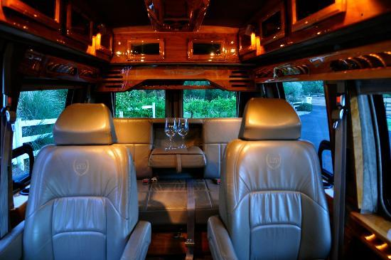 Uncorked Wine Tours: The inside of our luxury conversion van seats up to 6