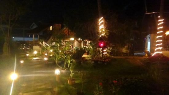 The Spa Garden: Property Gardens at night
