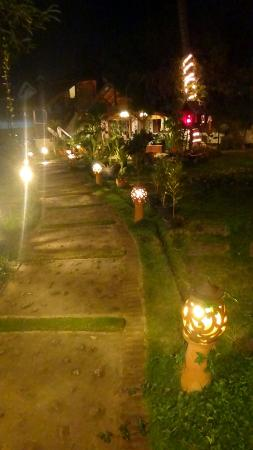 The Spa Garden: Lit path at night