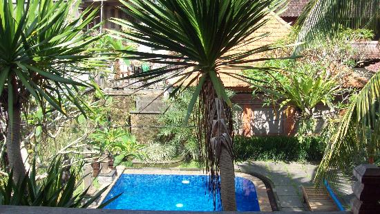Wahyu Bungalow: view from the balcony over swimming pool