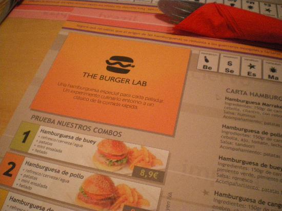 The Burger Lab : menù