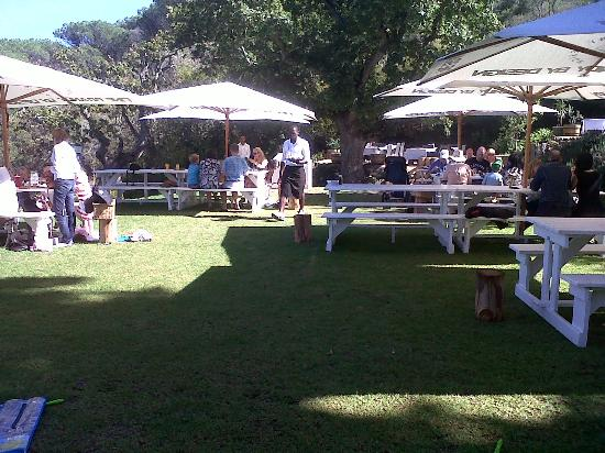 The Roundhouse Restaurant: Outside Picnic Style Tables
