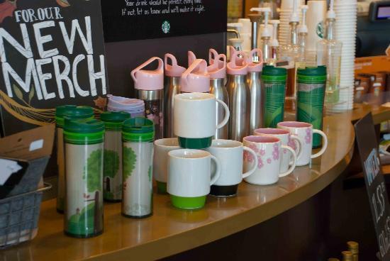 Starbucks-Queen Street: Colourful Starbucks merchandise