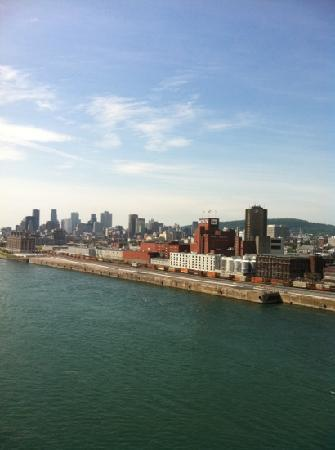 from the Jaques Cartier Bridge overlooking The Village, Old Montreal and Downtown
