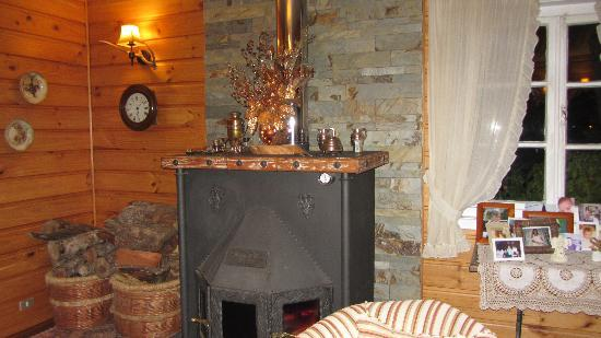 Hotel Frau Holle: Sala de estar , con chimenea, y exquisito aroma a  canela  y ulmo.