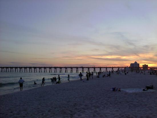 Pensacola Beach at sunset in March