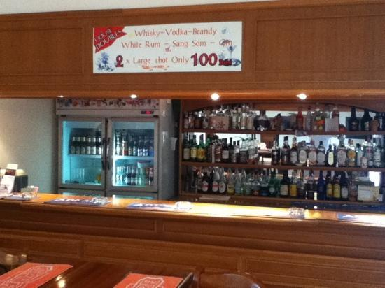 Seajays Resort: well stocked bar, and check out the offer!