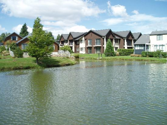 Village Lake Apartments: The apartments from across the lake