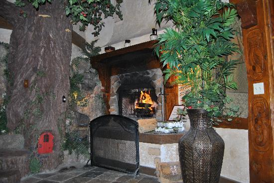 Castle Wood Cottages: Fireplace in use