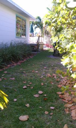 Gulf Breeze Cottages: GRILL AREA AND LEADING TO THE BACKYARD