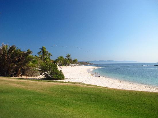The St. Regis Punta Mita Resort: View from the 18th hole to the St. Regis beach